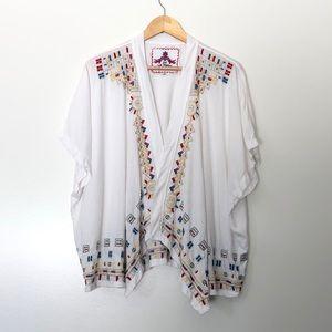 Johnny Was JWLA Boho Embroidered Kimono Cardigan